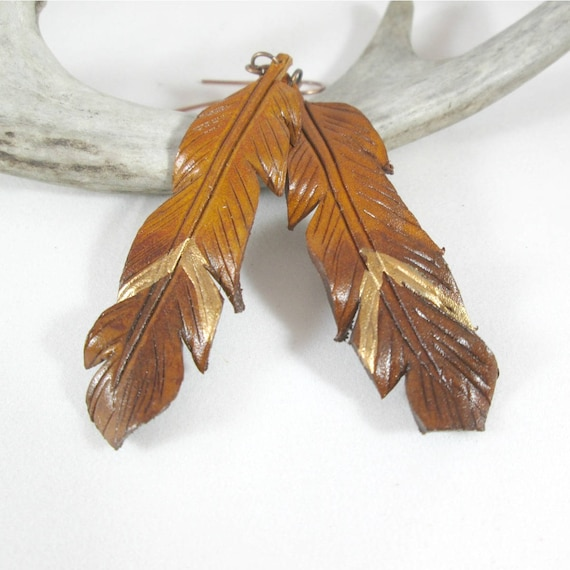 Leather Feather Earrings with Gold Chevron