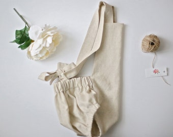 Natural Linen Romper, Linen Sunsuit, Baby Romper, Toddler Romper, Linen Baby Sunsuit, Linen Toddler Romper, Cream Romper, Beige Sunsuit