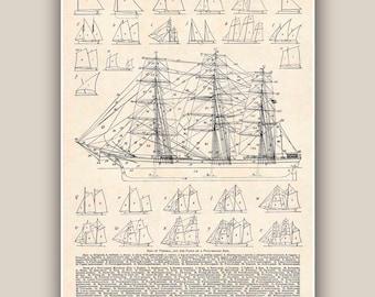 Impression Nautical, Rigs de dessins de navire, grande taille 11'' x 14'' impression, tirages de bord de mer, décoration murale-Marine, art nautique