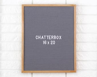 "16x20"" Chatterbox Letter Board Oak Frame Letter Board - Messenger Board - Felt Board with 300+ Letter Set"