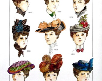 Men's and Ladies' Accessories, Hats, Period Clothing of the Early 1900's - Reference Material -1993 Vintage Book Page - 9.5 x 8