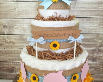 Barbecue Baby Shower Diaper Cake, Baby Q Centerpiece, Gingham
