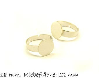 Ring blank, adjustable, platinum silver, 18 mm, surface 12 mm