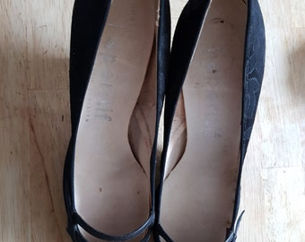 Late 1950's/early 1960's French brocade stiletto heels UK4 (37)