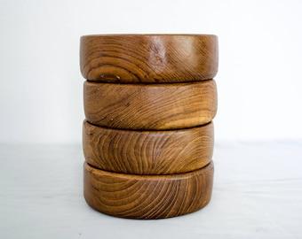 vintage teak wood bowls / set of 4 wooden bowls / 1970s bowls
