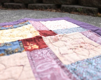 Quilted Patchwork Square   Purple Table Square   Mid Centruy Modern Decor   Table Centerpiece   Homemade Quilts   Quilted Wall Art  