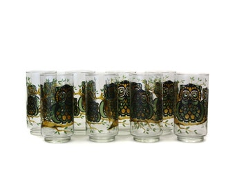Vintage 1970s Libbey Stained Glass Owl Tumblers, Set of 8 (E8033)