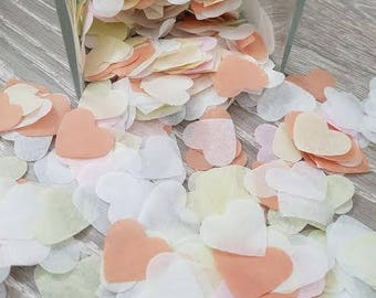 Lime-Peach-White-Pale pink throwing and table decor heart confetti variation.Wedding Birthday baby showers and more decor
