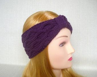 Cable knit headband Knit headband ear warmer Cashmere wool head wrap Winter headband Womens knit turban headband Knit earwarmer head band