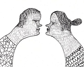 nose to nose  / ORIGINAL ILLUSTRATION / ink drawing