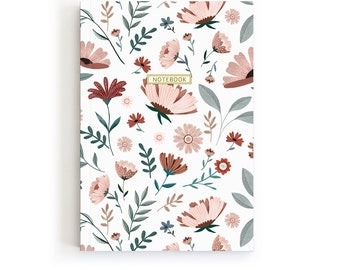 Floral Notebook Journal, Gardening Journal With Flowers, Bloom Stationery For Girls, Flower Dairy Journal, Writing Journal for Women, A5