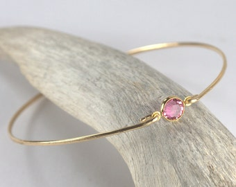 Octobre Pierre de naissance Swarovski Rose bracelet en or rose Bracelet, Bracelet or, bracelet Rose Bracelet, Bracelet de naissance octobre [#773]