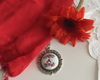 Initial embroidery necklace.