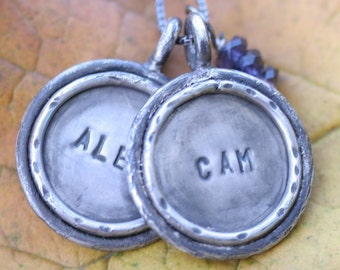 Medium Sterling Silver Distressed Double-Sided Custom Hand Stamped Reversible Pendant with Rim Necklace
