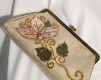 1959s Vintage Clear Plastic Clutch Purse With Gold Flower