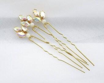 Bridal hairpins, set of 6 vintage crystal hairpins, wedding hairpins, crystals hairpins, gold hair pins, one of a kind