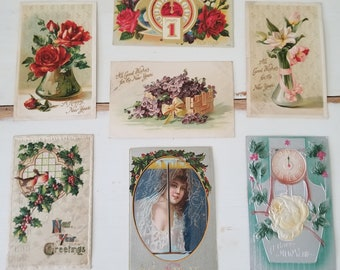 7 Antique New Year's Day PC Postcards 1909 and 1910 lovely!