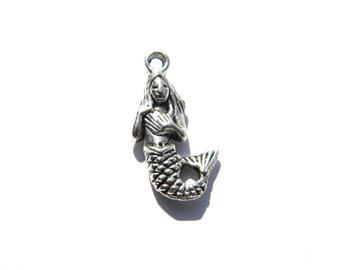 6 Silver Mermaid Charms