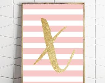 nursery art letter X, illustrated letter art, baby gift printable, nursery alphabet decor, monogram print, nursery gift