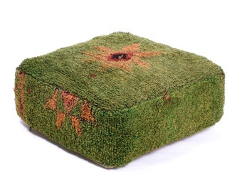 Moroccan Pouf, Floor Cushion, Berber Kilim Pouf Ottoman, Floor Pillow, Foot Stool, Refashioned from a Vintage Berber Rug. PVR039
