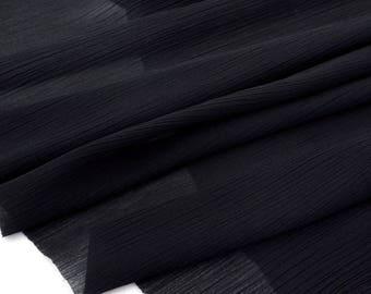 Fabric crepe polyetser extra soft fluid color black x 1 meter
