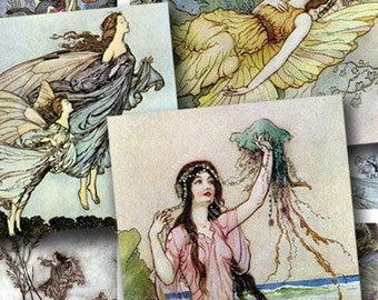Vintage Fairies and Water Nymphs Digital Collage Sheet 1 Inch Squares Nature Owls for Pendants Jewelry and More piddix 404