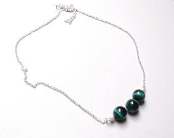 Tiger eye green pendant and chain 925 45 cm silver