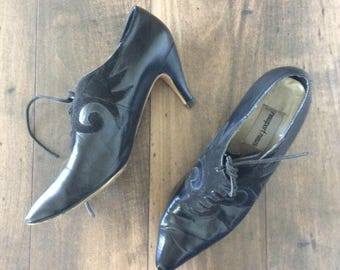 1980's Black Leather Witchy Lace Up Heels Size 8 by Maeberry Vintage