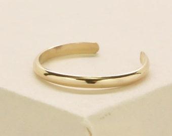 Gold Toe Ring, 14K Yellow Gold fill Half Round Adjustable Toe Ring, Kristin Noel Designs