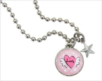 Kids necklace, Kids bracelet, Kids jewelry, heart charm, winged-heart charm, Kids accessories, Kids pendant, Interchangeable jewelry. #28
