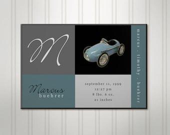 Personalized Boy's Room Sign, Blue Car Blocks, Boys Birth Stats Wall Decor, Childrens Nursery Art