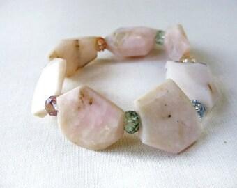 Pink Opal Bracelet Faceted Colorful Rondelles Chunky Pastel Pink Gemstone Stretch Stacking Bracelet October Birthstone Handmade Canada
