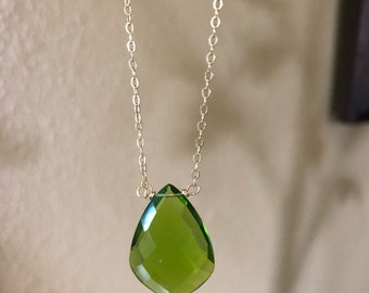 Peridot quartz necklace with gold filled chain