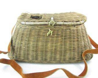 Antique creel basket, vintage fishing basket,1930s decor,fishing collectible,old basket,storage basket,fishing equipment,