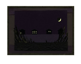 """Glows in the dark!!  Water Houses - 8.5"""" x 11"""" Giclee print from original artwork with hand-painted glow accents- windows / moon glow!"""