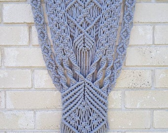 "Macrame Wall Hanging ""Fifty shades of grey"" Boho gypsy. Wall art. Vintage. Fibre art. Home decore. Gift."