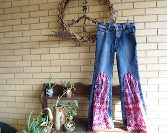CLEARANCE Upcycled Levi Strauss girls Blackberry Smoke inspired hippie jeans size 12 regular