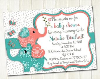 Coral turquoise elephant Baby shower printable invitation baby girl digital invite personalized invitation party invite DIY birthday card