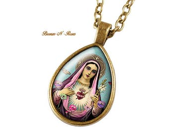Virgin Mary gift jewelry bronze cabochon Flower necklace