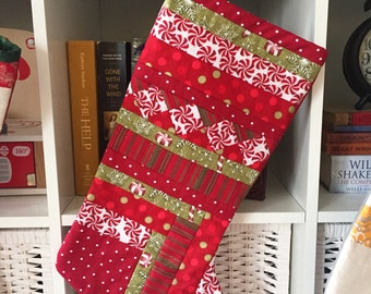 Christmas Stocking, quilted, candy cane, glitter, polka dot, holiday stocking
