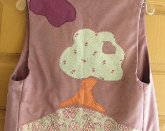 Vintage  jacket vest size medium cropped 80s 1980s purple tree patch