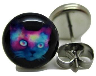 Space Cat Stud Earrings - New - Pair!