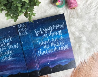 Hand Painted Bible: Starry Night Bible Theme