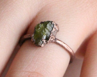 Peridot Ring | Raw Peridot Ring | Stacking Peridot Ring | Birthstone Ring | Peridot Jewelry | Gemstone Jewelry | August Birthstone Jewelry