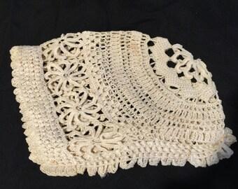 Vintage Hand Crochet Ecru Baby Bonnet