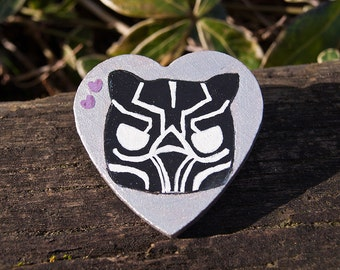 Marvel Black Panther T'Challa Avengers Infinity War Funko Pop - Custom Hand Painted Wooden Pin - Cute Adorable Badge Button Gift
