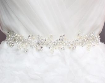 Headpiece Tiara Making, Pearl Beaded Vines Supply, Crystal Beads Wire, Wedding Woodland Sash DIY, Bridal Tiara Jewelry - NO RIBBON