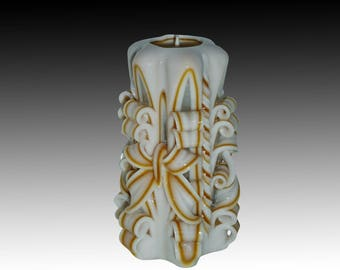 White Gold candle - Unique handmade gift candle - Gift for friend - Hand Carved candles - 5 inch/ 12cm