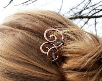 Rustic hair stick Metal hair fork Boho Hair pin  Copper hair slide Spiral fork Hair accessories Women gift Rustic copper Women accessories