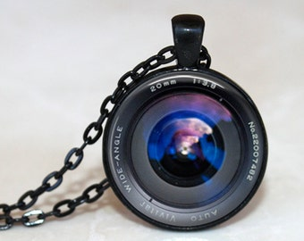 Behind the Camera Lens Pendant, Necklace or Key Chain - Choice of Silver, Bronze, Copper or Black - Photography Jewelry